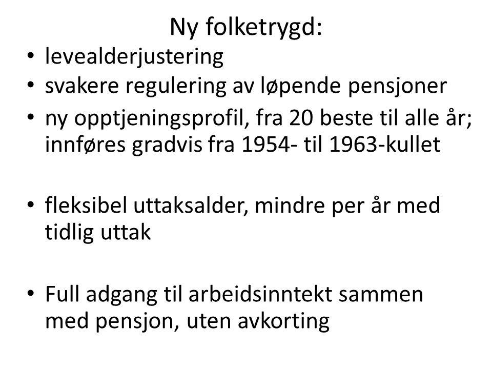 Fleksibel pensjonsalder: -tidlig avgang gir avkorting, sen avgang gir tillegg - jo tidligere avgang jo mindre opptjening - jo tidligere avgang, jo lengre periode med underregulering