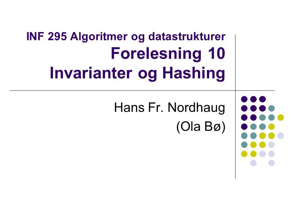 Invarianter I mange algoritmer er det vilkår som forblir uforandret mens algoritmen kjøres Slike vilkår kalles invarianter Det er nyttig å kjenne igjen invarianter for å forstå algoritmen Invarianter kan også brukes under feilsøking For algoritmen som setter inn en ny node i et søketre er invarianten vilkåret for søketrær, nemlig at for hver node skal alle noder i dens venstre subtre ha lavere verdi og alle noder i dens høyre subtre ha høyere verdi