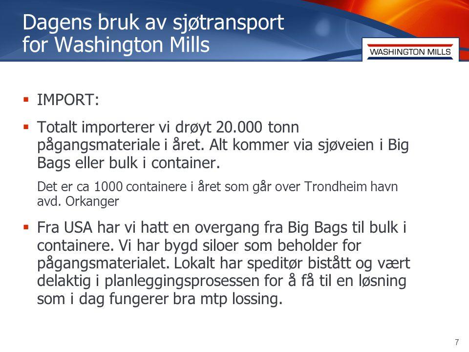 8 Washington Mills  EKSPORT:  Vi eksporterer ca 20.000 tonn i året.