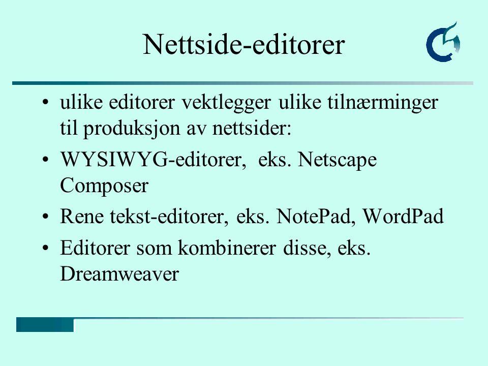 Hovedstrukturen i et HTML- dokument En beskrivelse av siden