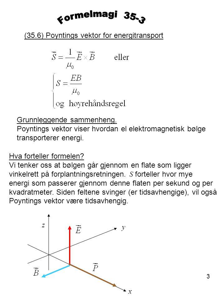 4 (35.6) Intensitet I er tidsmiddelet av Poyntings vektor Avledet formel.