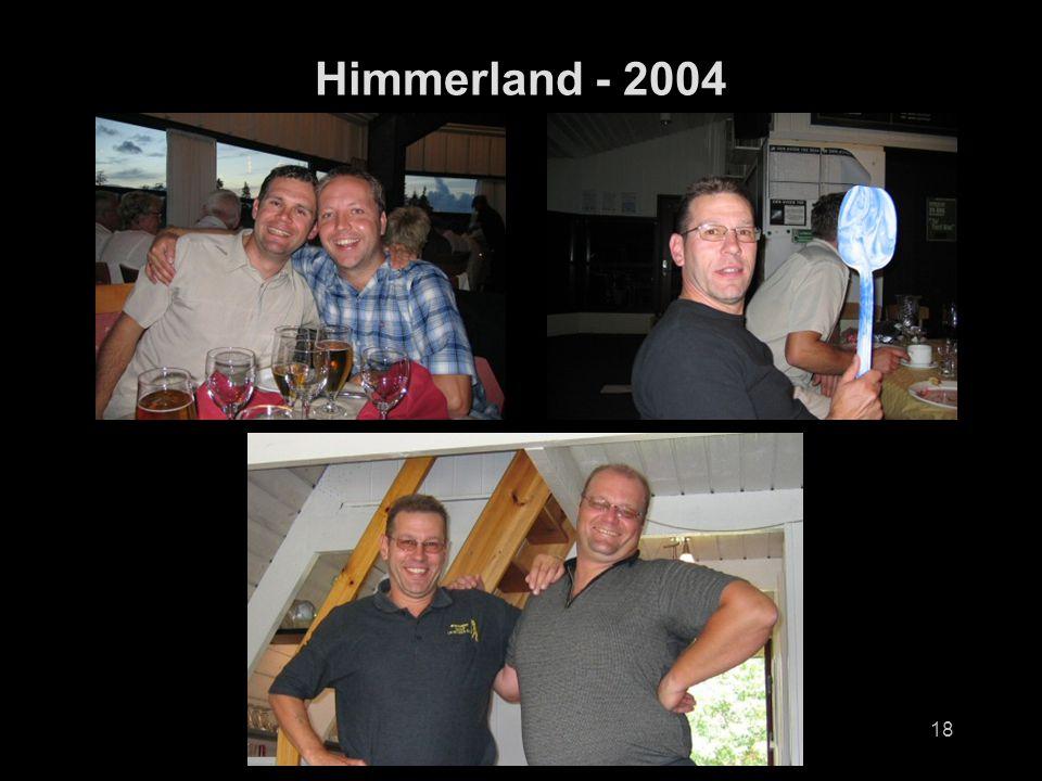 19 Resultater Longest Drive Fredag Hull 3 Old CourseJørgen Nearest Pin Fredag Hull 17 Old CourseEgil Longest Drive Lørdag Hull 8 New CourseSveinung Nearest Pin Lørdag Hull 17 New CourseSveinung Scramble Fredag New CourseHarry, Sveinung og Juan med +2 Scramble Lørdag Old CourseJan Birger, Sveinung, Harald og Inge på +7 og håndbak Årets FørstereisArve The SandmanNigel fikk en spade med seg hjem Himmerland - 2004