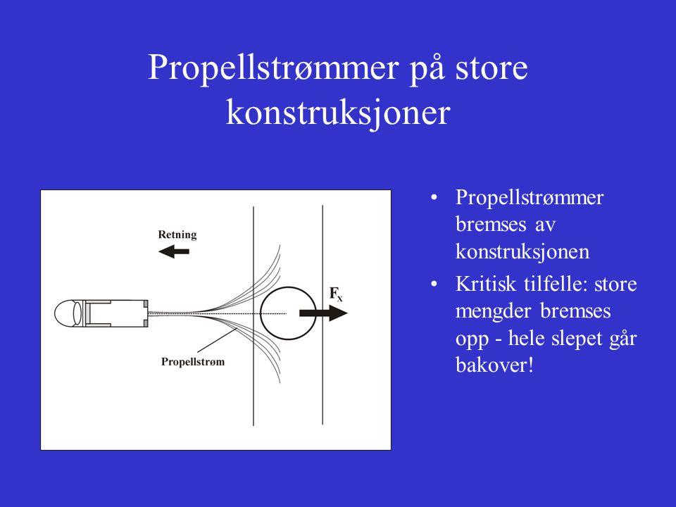 Propellstrømmer på store konstruksjoner Propellstrømmer bremses av konstruksjonen Kritisk tilfelle: store mengder bremses opp - hele slepet går bakover!