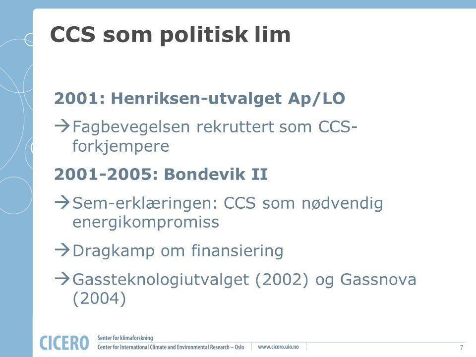 8 CCS som politisk lim II 2005: Soria Moria  CCS politisk nødvendig for Ap/SV-koalisjon  15 års gasskraftstrid er over  Toppunktet for CCS-konsensus 2006: Mongstad-slag og månelanding 2007-2010: Kårstø-problemer og slutt på EOR-optimismen Drahjelp fra EU