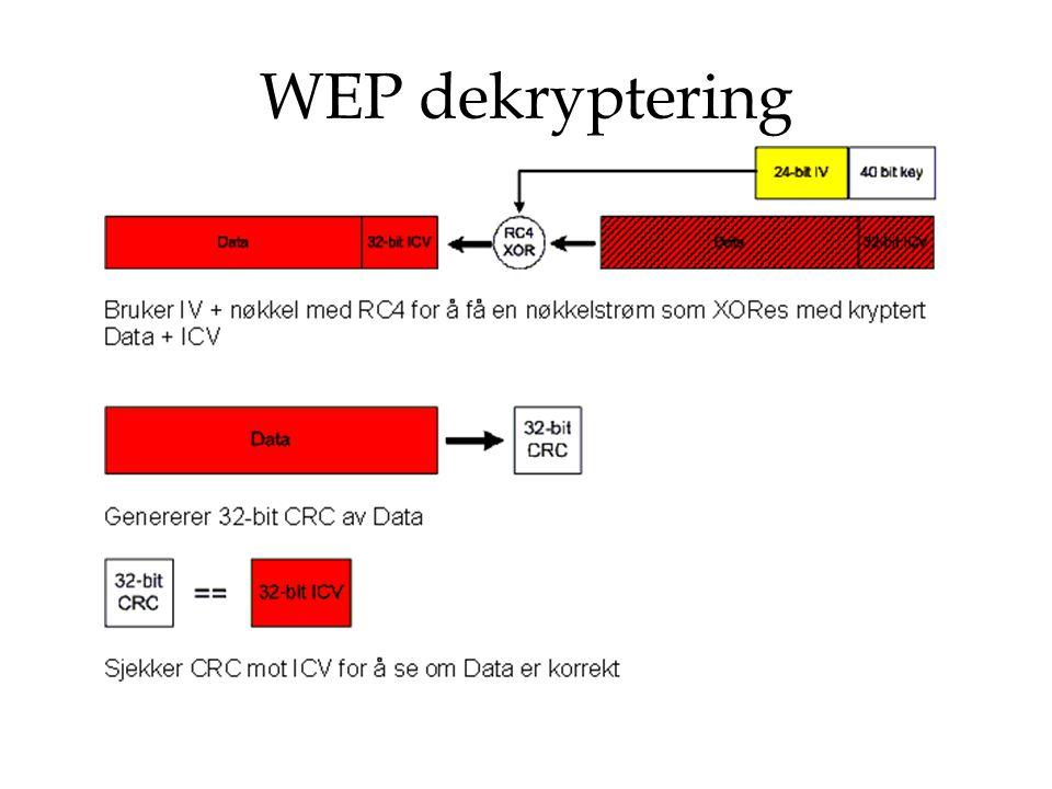 TKIP – Temporal Key Hash Function Bruker samme RC4 stream cipher som WEP Nøkkelen består av 128 bit og blir kalt Temporal Key (TK) Initialization Vector (IV) består av 48bit