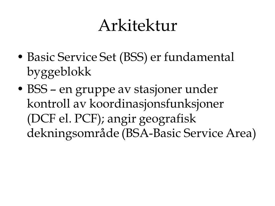 Arkitektur – Ad Hoc nettverk Gruppering av stasjoner i BSS IBSS (Independent BSS) – det formelle navnet til et ad hoc nettverk i IEEE802.11 standarden Trafikk uten AP – access point