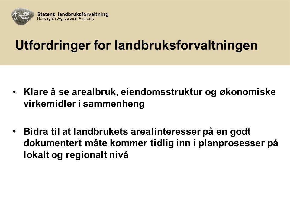 Statens landbruksforvaltning Norwegian Agricultural Authority Samhandling FM – SLF (I) SLF ønsker tett dialog og samarbeid i utviklinga av arbeidet på arealområdet.