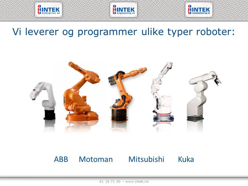 61 19 71 00 – www.intek.no Robot programmer og applikasjon: Kort programmeringstid, alle grunnfunksjoner allerede er inkludert i våre program.