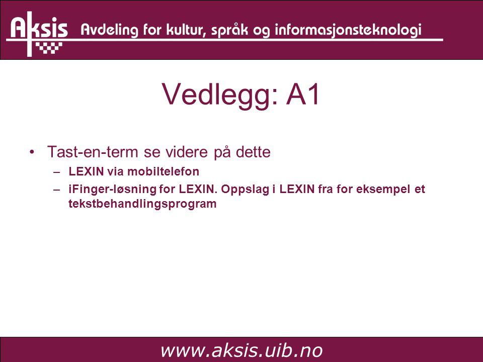 www.aksis.uib.no Vedlegg: A2 Kom ikke så langt