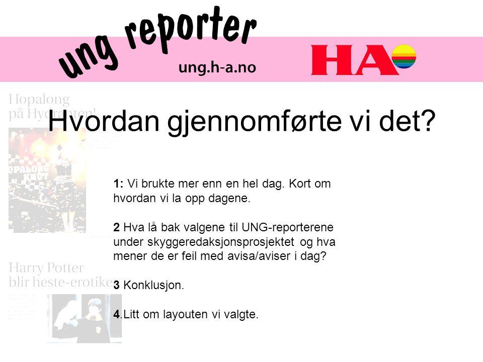 Hva lå bak valgene til UNG-reporterene og hva mener de bør gjøres annerledes i HA/andre aviser i dag.