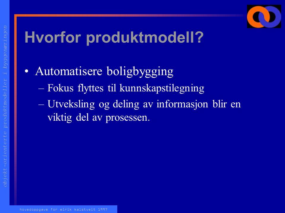 objekt-orienterte produktmodeller i byggenæringen hovedoppgave for eirik kalstveit 1997 Hvorfor produktmodell.
