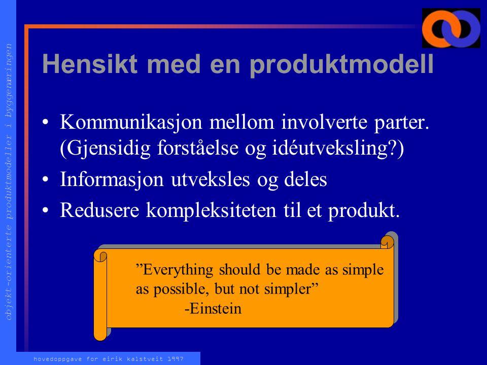 objekt-orienterte produktmodeller i byggenæringen hovedoppgave for eirik kalstveit 1997 Hensikt med en produktmodell Kommunikasjon mellom involverte parter.