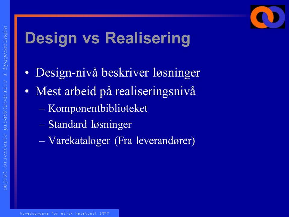 objekt-orienterte produktmodeller i byggenæringen hovedoppgave for eirik kalstveit 1997 Design vs Realisering Design-nivå beskriver løsninger Mest arbeid på realiseringsnivå –Komponentbiblioteket –Standard løsninger –Varekataloger (Fra leverandører)