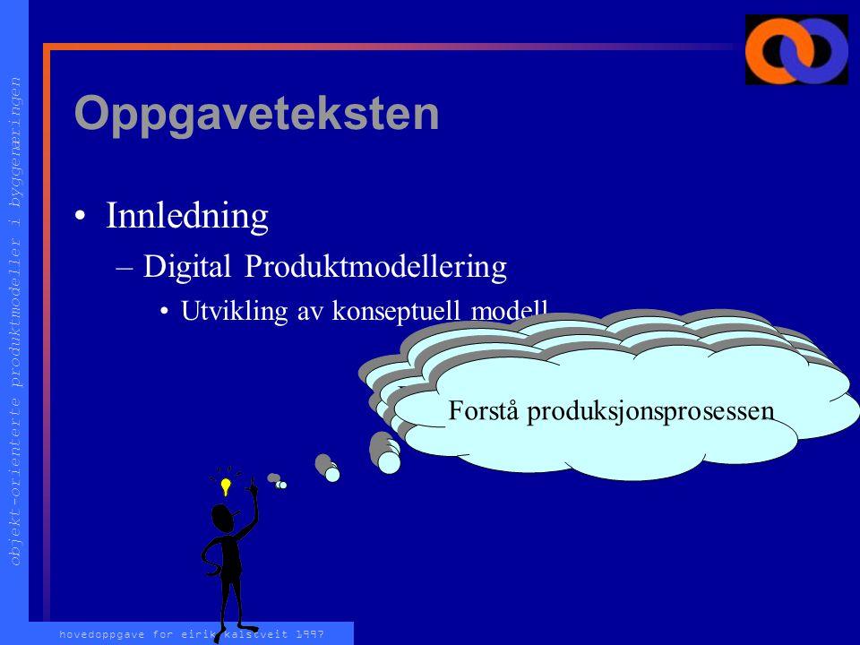 objekt-orienterte produktmodeller i byggenæringen hovedoppgave for eirik kalstveit 1997 Oppgaveteksten Innledning –Digital Produktmodellering Utvikling av konseptuell modell Forstå produktet Forstå produktutviklings-prosessen Forstå produksjonsprosessen