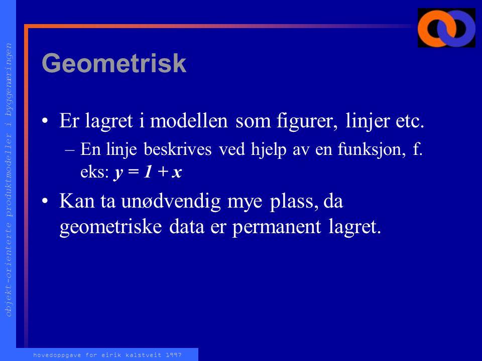 objekt-orienterte produktmodeller i byggenæringen hovedoppgave for eirik kalstveit 1997 Geometrisk Er lagret i modellen som figurer, linjer etc.