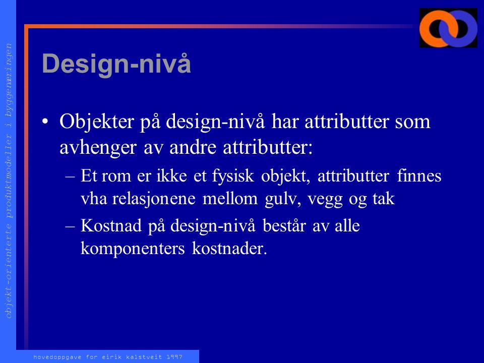 objekt-orienterte produktmodeller i byggenæringen hovedoppgave for eirik kalstveit 1997 Design-nivå Objekter på design-nivå har attributter som avhenger av andre attributter: –Et rom er ikke et fysisk objekt, attributter finnes vha relasjonene mellom gulv, vegg og tak –Kostnad på design-nivå består av alle komponenters kostnader.
