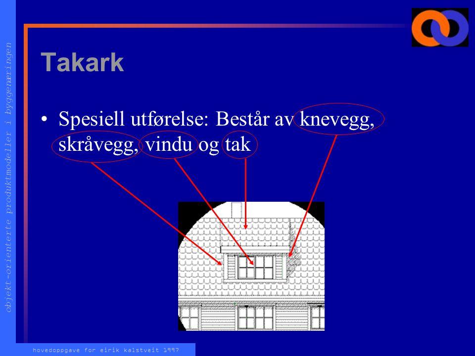 objekt-orienterte produktmodeller i byggenæringen hovedoppgave for eirik kalstveit 1997 Takark Spesiell utførelse: Består av knevegg, skråvegg, vindu og tak