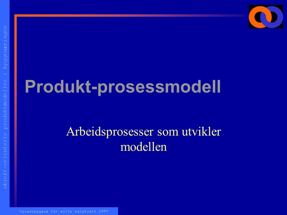 objekt-orienterte produktmodeller i byggenæringen hovedoppgave for eirik kalstveit 1997 Produkt-prosessmodell Arbeidsprosesser som utvikler modellen