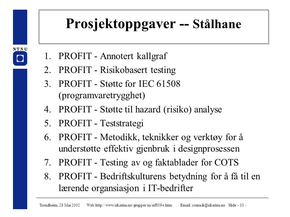 Trondheim, 28 Mai 2002 Web:http://www.idi.ntnu.no/grupper/su/sif8094.htm Email: conradi@idi.ntnu.no Slide - 11 - Prosjektoppgaver -- Jaccheri 1.SW.