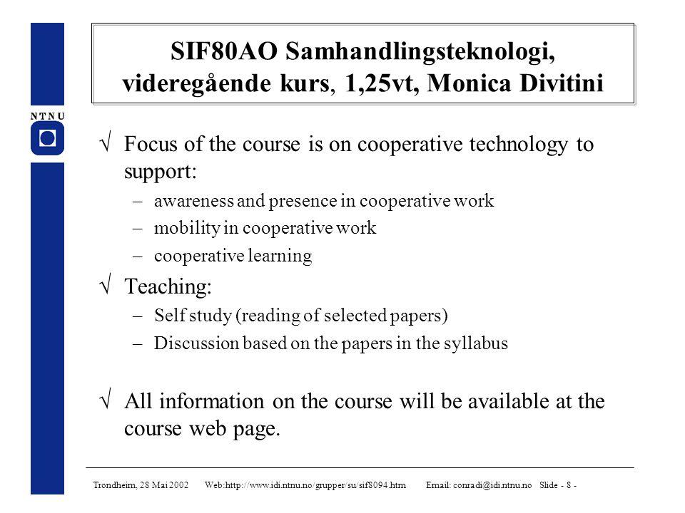 Trondheim, 28 Mai 2002 Web:http://www.idi.ntnu.no/grupper/su/sif8094.htm Email: conradi@idi.ntnu.no Slide - 9 - Prosjekteroppgaver -- Conradi 1.PROFIT - Kunnskapsforvaltning for programvareutvikling 2.PROFIT - Industrielle software process modelling languages 3.ESERNET / PROFIT - Web-basert, distribuert database for programvareeksperimenter 4.INCO - Studie av arkitekturspråk 5.INCO - Inspeksjon av objektorientert konstruksjon (UML) 6.INCO - Inkrementell systemutvikling med RUP/XP 7.INCO - Studie av industriell, komponentbasert utvikling, Ericsson 8.INCO - Studie av industriell, komponentbasert utvikling, Mogul 9.INCO - Inspeksjon av kravdokumenter, repetert eksperiment 10.MOWAHS - Prosess-system for mobilt arbeid 11.MOWAHS - Utprøving av prosesstøtte for mobilt arbeid 12.MOWAHS - Utvikling av nettbasert spill på mobilt utstyr 13.MOWAHS - Bli-kjent-med-IT-bygget spill for PDA 14.MOWAHS - Intelligent web-grenesnitt for håndtering av mobiltrammeverk 15.MOWAHS - En studie av programvare for mobilt arbeid 16.Fagrelevans - Spørreundersøkelse av relevans av datautdannings pensum