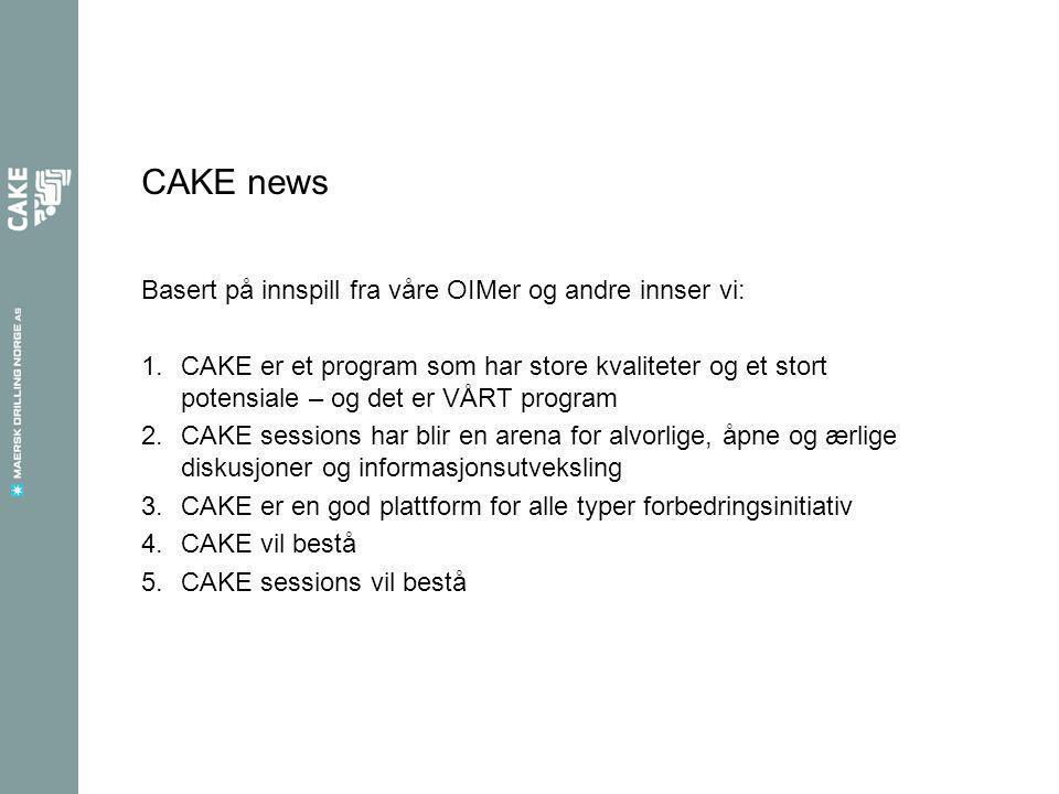 CAKE news 2 Basert på de samme innspill innser vi: 1.CAKE trenger en boost 2.For mye av arbeidsbyrden er tillagt offshorepersonell og OIMer 3.Offshorepersonell får ikke tilstrekkelig feedback etter CAKE sessions 4.Onshorepersonell er ikke tilstrekkelig inkludert i – CAKE må bli et program for hele organisasjonen 5.Vi trenger andre og flere aktiviteter – det er ikke tilstrekkelig med CAKE sessions 6.Vi trenger hjelp …