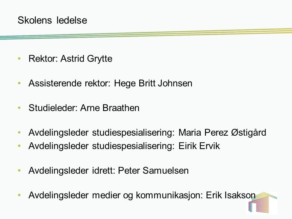 Rådgiverne Bente Foss: Idrettsfag Studiespesialisering (1ST,1STB) Mette Olden Medier og kommunikasjon Studiespesialisering (1STC,1STD,1STE)