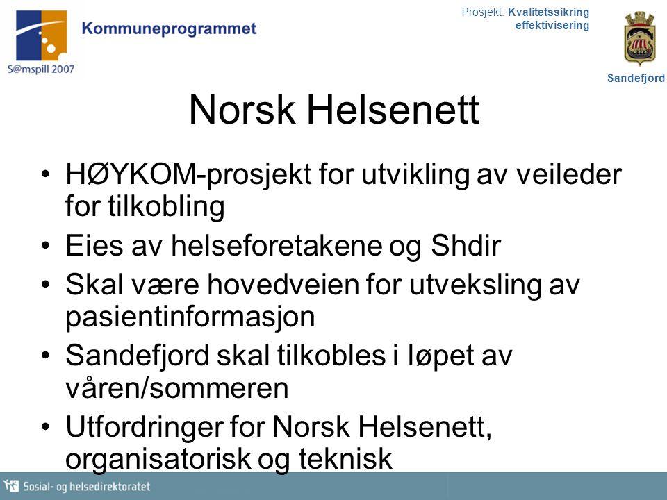 Prosjekt: Kvalitetssikring effektivisering Sandefjord Overordnet mål: Behandlingsnivåene skal ha all relevant og oppdatert informasjon om pasienten