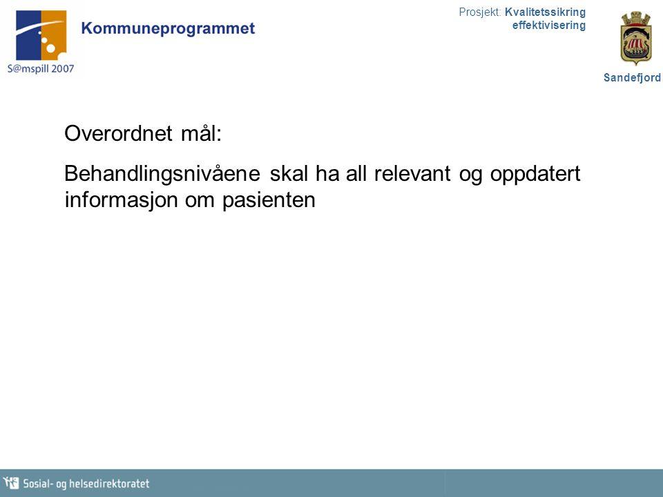Prosjekt: Kvalitetssikring effektivisering Sandefjord Samtykkebasert database m/utvalgt informasjon, lokalisert hos en aktør/ databaseansvarlig.