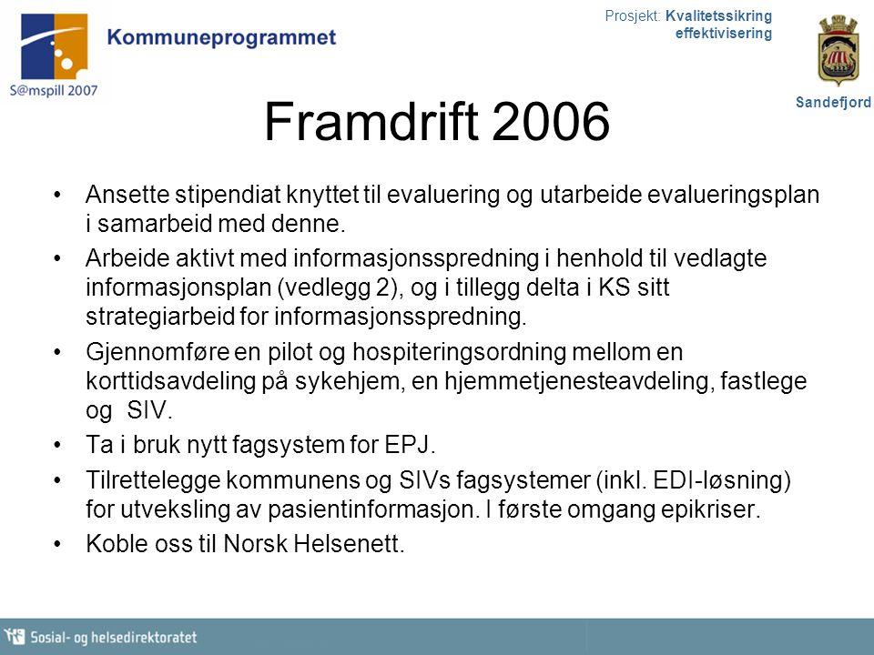 Prosjekt: Kvalitetssikring effektivisering Sandefjord Organisatoriske utfordringer Forskjellige kulturer (kommune, sykehus og fastleger skal kommunisere) Hospiteringsordning