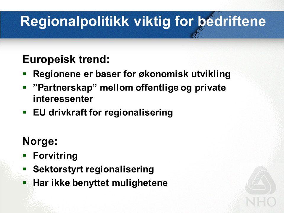 Regionalisering i EU  Regionalisering i EU har gått parallelt med EU- integrasjon  Den regionale dimensjonen er styrket gjennom ulike traktatendringer i EU, samtidig som mer penger nå brukes til regional utvikling  Det regionale nivået i EU-landene har styrket seg, noen land har gått i føderal retning  Det er utviklet et aktivt grenseoverskridende samarbeid mellom regioner – uavhengig av staten  Europeiske interesseorganisasjoner for regioner er etablert i EU