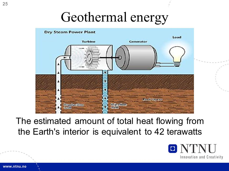 26 Geothermal energy in the world Energy –38 TWh electricity production –34 TWh heat production Installed power: –8.912 MW for electricity production –16.000 MW for heat production Source: Renewable energy (Renew.