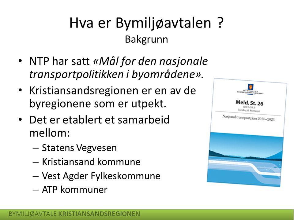En helhetlig plan for transport i byområdene:  Veg (Statens Vegvesen)  Kollektiv (Vaf)  Sykkel og gange (Kommunen) BYMILJØAVTALE KRISTIANSANDSREGIONEN Hva er Bymiljøavtalen .