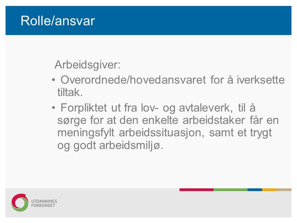 Rolle/ansvar Tillitsvalgt: Ikke terapeuter (behandlere) Tilretteleggere og medvirkere.