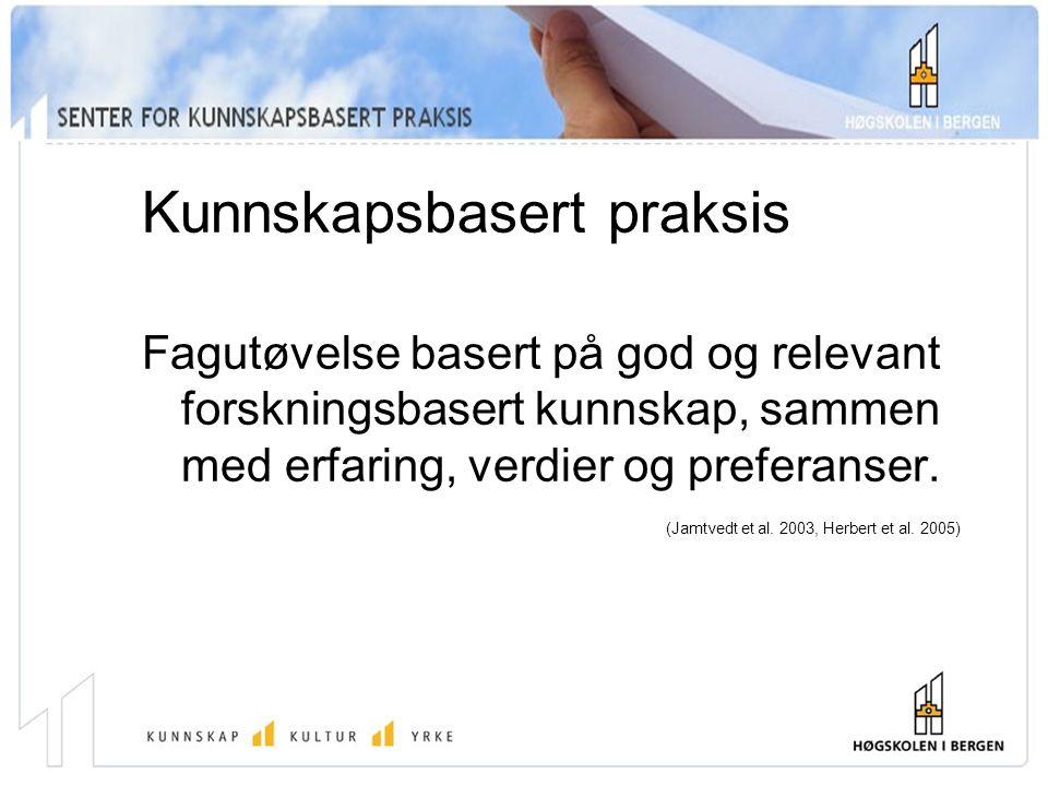 Kunnskapsbasert praksis Fagutøvelse basert på god og relevant forskningsbasert kunnskap, sammen med erfaring, verdier og preferanser.