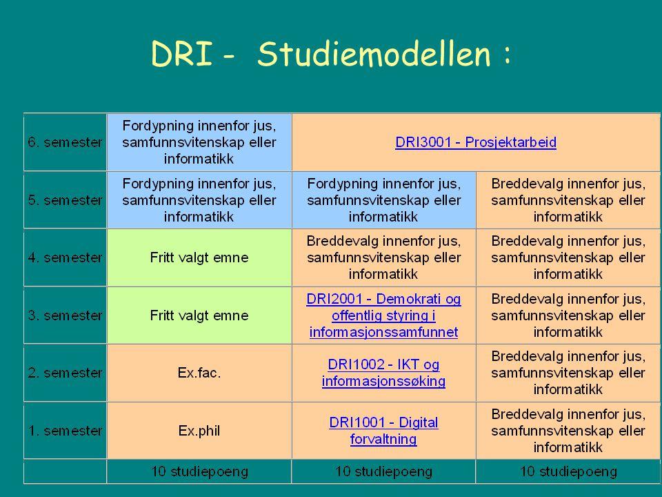Introduksjon til DRI1001 Om Undervisningsopplegget –Forelesninger, pensumseminar og øvelser http://www.uio.no/studier/emner/jus/afin/DRI1001/h06/ http://www.uio.no/studier/emner/jus/afin/DRI1001/h06/ –Obligatoriske oppgaver Om pensum –Grunnbøker: struktur og innhold –Kompendier –Stoff på nettet Øvelser, ulike individuelle - og gruppeoppgaver Vekt på studentstyrte aktiviteter med veiledning