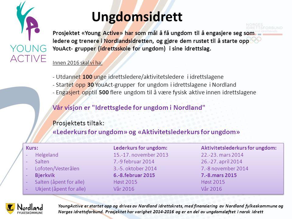 Bakgrunn for prosjektet Ungdomsidretten i Nordland har kun 56% oppslutning * 12% under landsgjennomsnittet -Spørreundersøkelse - kartlegging av ungdomsfrafallet i Nordland -Det er mulig å søke om pengestøtte fra NIF for å starte opp «Idrettsskole for ungdom» som har fokus på allsidig aktivitet Omdøpt til: YouAct-gruppe