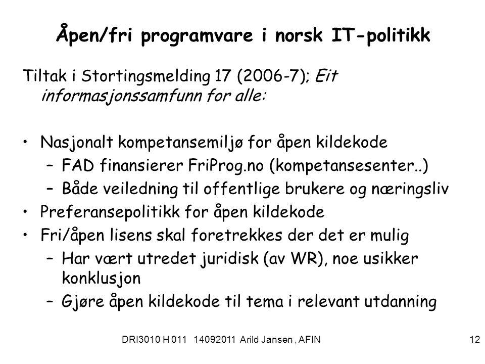 DRI3010 H 011 14092011 Arild Jansen, AFIN 13 IKT-standarder for offentlig sektor Standarder som en del av felles IKT-arkitektur Referansekatalogfor IT-standarder i offentlig sektor I tillegg til obligatoriske og anbefalte standarder inneholder referansekatalogen informasjon om standarder som er foreslåtte,(under observasjon), med mer Forskrift om IT-standarder i offentlig forvaltning http://lovdata.no/cgi-wift/ldles?ltdoc=/for/ff-20090925-1222.html Se standardiseringsportalen : http://standard.difi.no/index.html