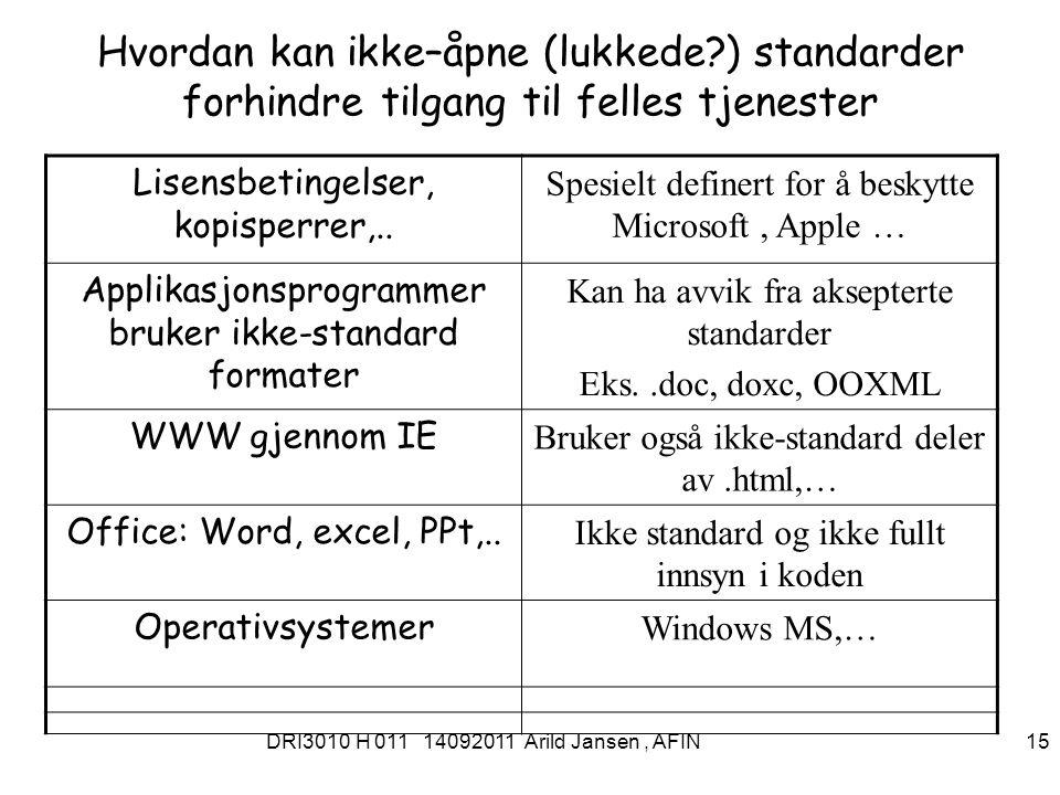 DRI3010 H 011 14092011 Arild Jansen, AFIN 16 Tilgang for alle Hva, hvorfor, hvordan og når