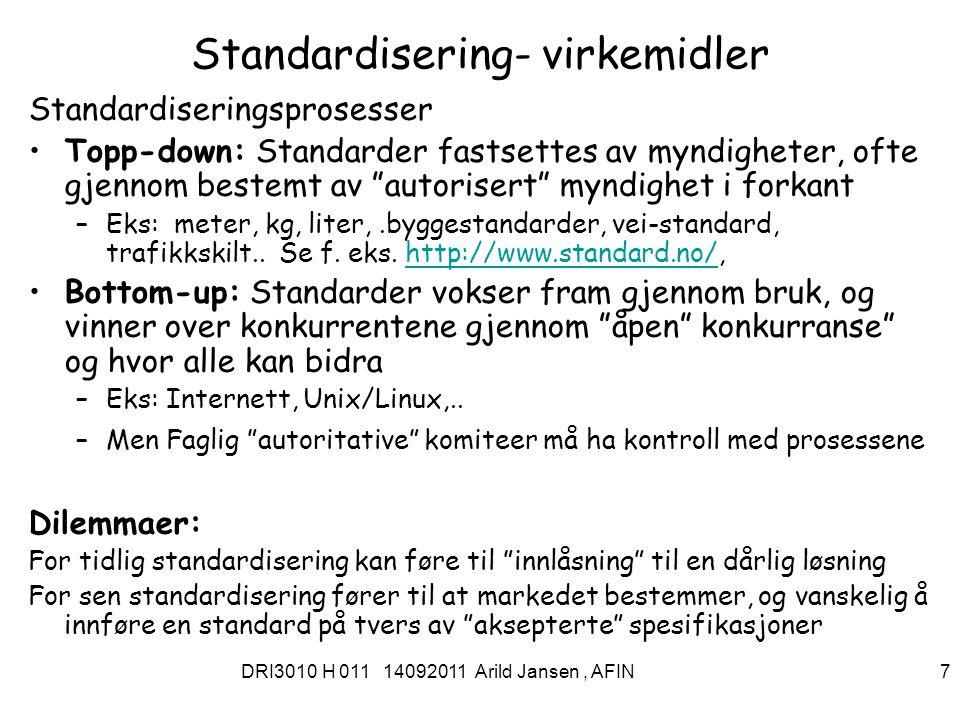 DRI3010 H 011 14092011 Arild Jansen, AFIN 8 Åpne standarder Åpen –Tilgjengelig for alle –Tekniske spesifikasjoner er offentlig, dv.