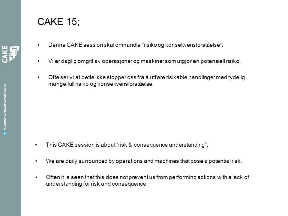 Under dagens CAKE session skal vi deles inn i grupper på 4-5 personer i hver.