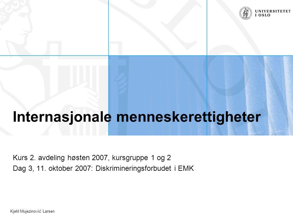 Kjetil Mujezinović Larsen Forberedelser Les EMDs avgjørelse i saken Thlimmenos mot Hellas fra 2000, særlig avsnitt 7-13 (sakens faktum) og avsnitt 33-49 (partenes anførsler og domstolens vurderinger vedrørende EMK art.