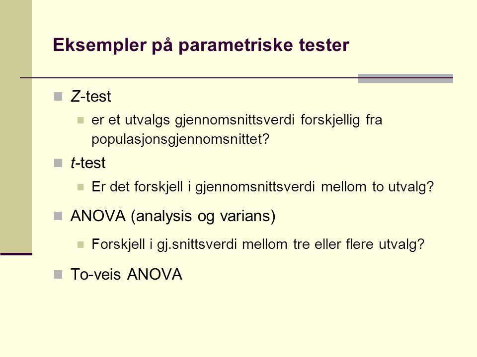 Ikke-parametriske tester Benyttes ofte når vi har variabler som er målt på nominal eller ordinalnivå Eller når forutsetningene for en parametrisk test ikke er oppfylt Benytter ellers samme logikk som tidligere, dvs.