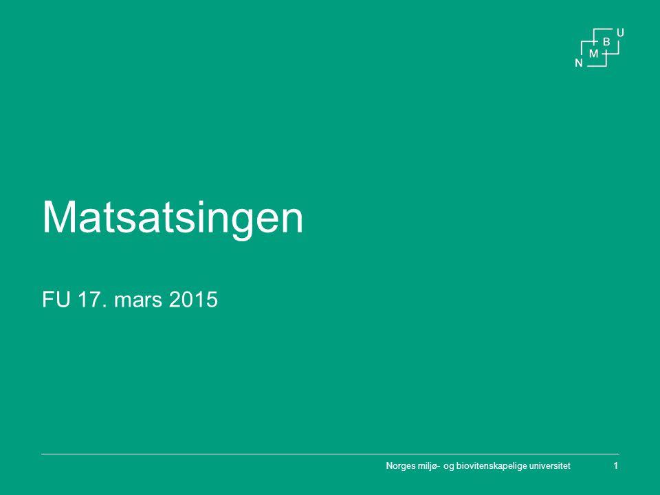 M ATSATSINGEN M AT FOR EN BÆREKRAFTIG FRAMTID Tverrfaglig satsing 2012-2016 Inkluderer hele matområdet på NMBU Totalbudsjett på nesten 38 millioner