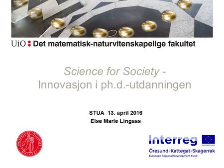 Science for Society - Innovasjon i ph.d.-utdanningen STUA 13. april 2016 Else Marie Lingaas.