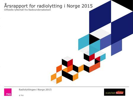 3.14 X AXIS 6.65 BASE MARGIN 5.95 TOP MARGIN 4.52 CHART TOP 11.90 LEFT MARGIN 11.90 RIGHT MARGIN Radiolyttingen i Norge 2015 © TNS Årsrapport for radiolytting.