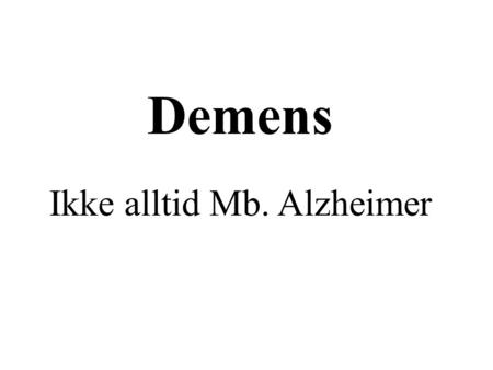 icd 10 demens