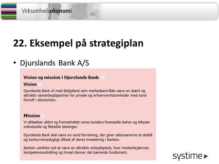 22. Eksempel på strategiplan Djurslands Bank A/S.