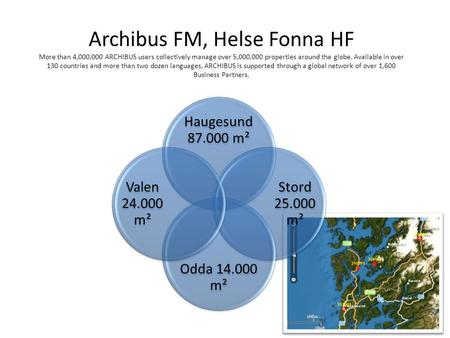 Archibus FM, Helse Fonna HF More than 4,000,000 ARCHIBUS users collectively manage over 5,000,000 properties around the globe. Available in over 130 countries.