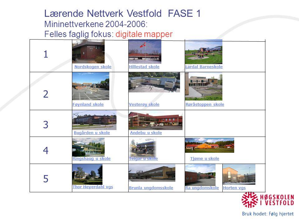 Lærende Nettverk Vestfold: Lærende Nettverk Vestfold: Mininettverkene 2006 – 2008 (- 09?) Felles faglig fokus: IKT I FAGENE Mini nettverk 1 Nøtterøy vgs (11-13) RE vgs (11-13) Føynland skole (1-7) Vesterøya skole (1-7) Røråstoppen skole (1-7) Skagerak Private School (1-10) Hof skole (1-10) Revetal ungdomsskole (8 – 10) Virik skole (1-7) Gausetangen skole (1- 7) Nedre Gausen døveskole Hver skole får NOK 25.000 årlig fra prosjektet for å dekke utgifter til samlingene.