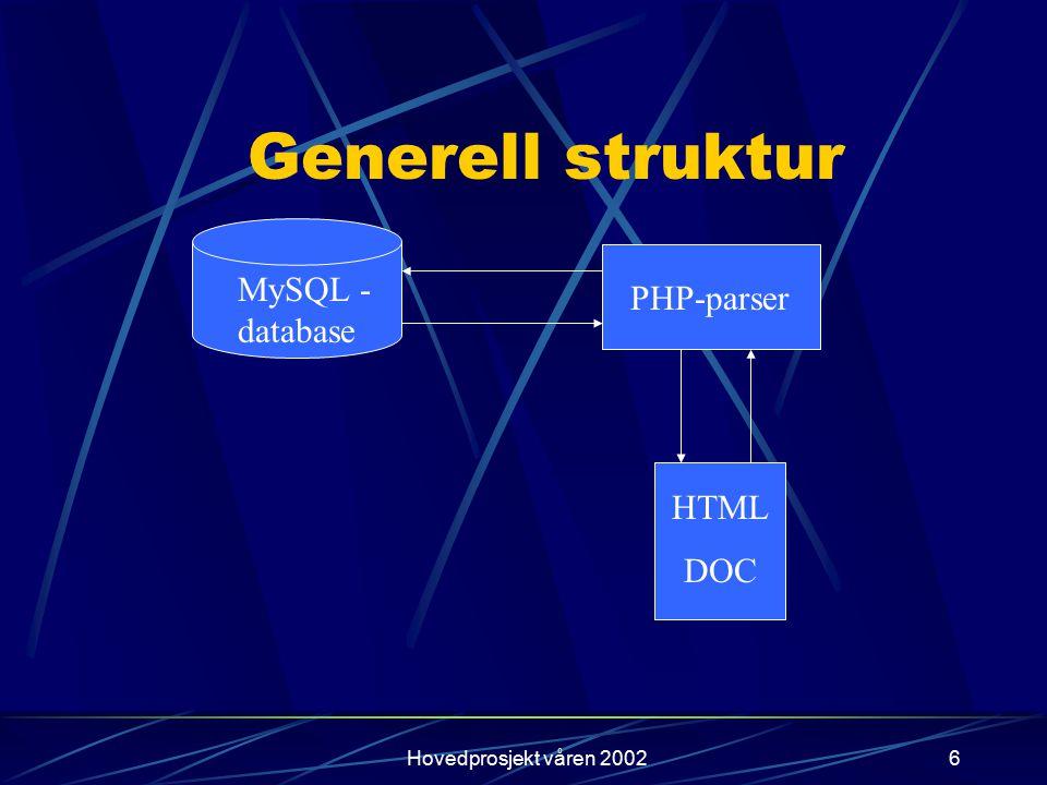 Hovedprosjekt våren 20027 Status så langt og videre framdrift Presentasjon og endring av data på plass.